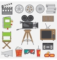 line flat color icon elements filmmaking vector image