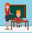 little kid group with teacher in classroom vector image