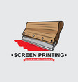 logo screen printing squeegee design vector image vector image