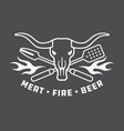 meat fire beer barbecue badge or logo vector image