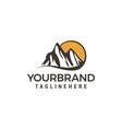 mountain sun logo design concept template vector image vector image