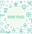 new year square frame in outline style vector image vector image