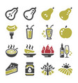 pear icon set vector image