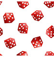 realistic 3d red casino dice seamless pattern vector image