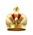 realistic royal crown classic king or prince vector image vector image