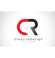 red and black cr c r letter logo design creative vector image