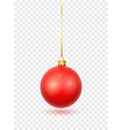 red christmas ball with ribbon and bow realistic vector image vector image