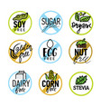 set of food labels - allergens gmo sugar gluten vector image
