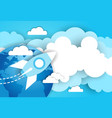 space rocket in sky over blue earth and clouds vector image vector image