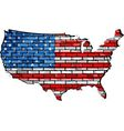 USA map on a brick wall vector image