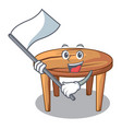 with flag wooden table isolated on the mascot vector image