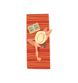 young woman sunbathing on beach towel top view of vector image