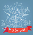 Love you floral card with lettering - retro style vector image