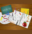 back to school background with realistic items vector image vector image