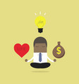 businessman meditation balance between ideas vector image