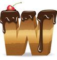 Cake letter W- birthday font vector image