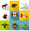 canada icon set flat style vector image vector image