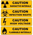 caution sign banners set radioactive materials vector image vector image