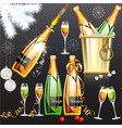 champagne holiday flat set on vector image vector image