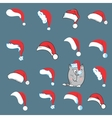 Christmas with santa hats and cat vector image