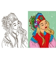 Colouring Book Of Girl In Kokoshnik vector image vector image