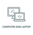 computer and laptop line icon linear vector image vector image