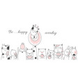 cute baanimal with candy cartoon hand drawn sty vector image vector image