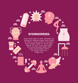 dysmenorrhea round concept banner in flat style vector image