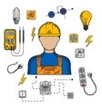Electrician man tools and equipment vector image vector image