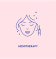 face mesotherapy line icon hyaluronic acid facial vector image