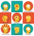 Flat line icons set human emotions icons Modern vector image