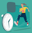 girl chasing of time clock vector image