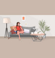 girl sitting on couch woman using smartphone vector image