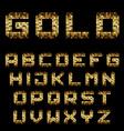 golden pixel alphabet font letters vector image
