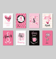 happy 8 march cute doodle greeting cards set pink vector image