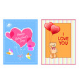 happy valentines day postcards with heart and bear vector image vector image