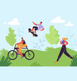healthy lifestyle concept active people exercising vector image vector image