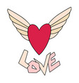 heart with wings valentines day greeting card vector image vector image