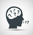 icon of human head with question marks vector image vector image
