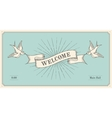 Invitation with word Welcome old vintage ribbon vector image vector image