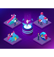 isometric concept of business teams meeting vector image vector image