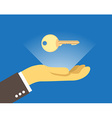 Key over the hand vector image