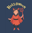 little girl in devil costume with trident vector image vector image