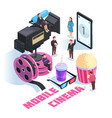 mobile cinema isometric concept vector image vector image