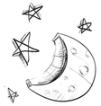 Moon and stars weather icon vector | Price: 1 Credit (USD $1)