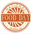 national food day sign and badge vector image vector image
