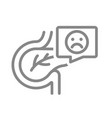 pancreas with sad face in speech bubble line icon vector image vector image
