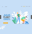 people characters removing trash from planet vector image vector image