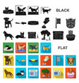 pet flat icons in set collection for design care vector image