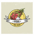 pitaya or dragon fruit vintage hand drawn fresh vector image